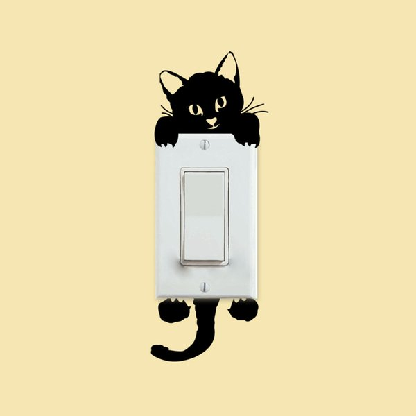 Cute Cat Wall Stickers Two Sided Visibility Light Switch Decor Decals Waterproof Black Paster For Kids Room 0 6cz B