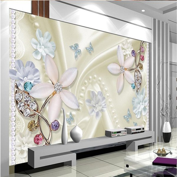 Wholesale-Custom Any Size Mural Wallpaper Background Photography Color Butterfly Crystal Diamonds Bathroom Wall Painting for Living Room