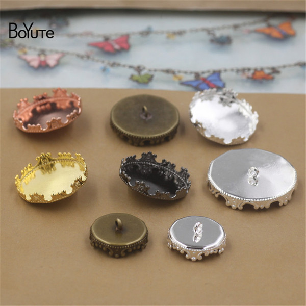 BoYuTe 40Pcs Round 12MM 15MM 20MM 25MM Cameo Cabochon Base Blank Button Tray Bezel Metal Copper Diy Jewerly Accessories Parts