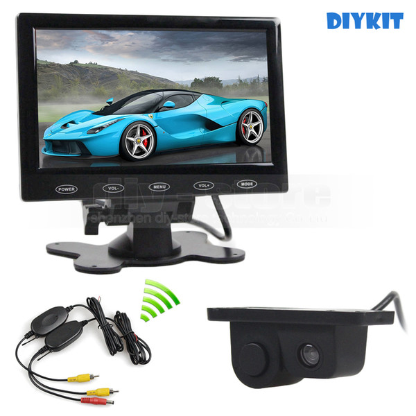 Wireless 7inch Touch Button Ultra-thin Car Monitor + Rear View Car Camera Wireless Parking Radar Sensor Assistance System