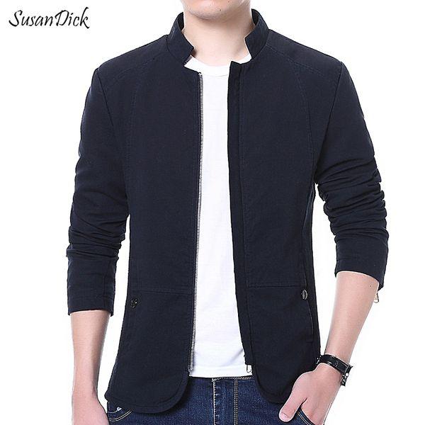 Wholesale- Fashion 2016 Autumn Jacket Men Brand Clothing Thin Slim Casual Business Coat Male Plus Size Stand Collar Cotton Navy Blue Jacket