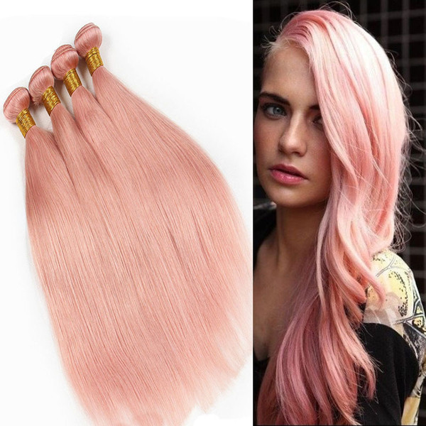 Rose Gold Pink Brazilian Virgin Human Hair Weaves Colored Straight Hair Bundles Double Weft Extensions 10-30 inch 3pcs 4pcs Per Lot