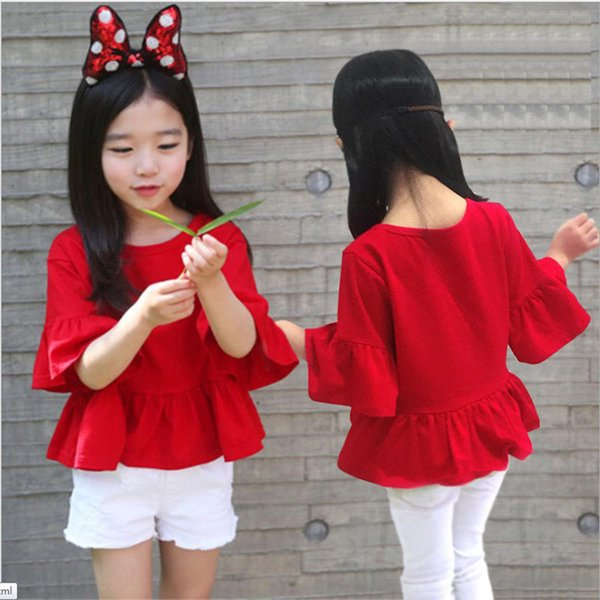Baby Kids Clothing Tops Tees summer 2018 korean fashion girls Red ruffled sleeve shirts Blouses singlet girl infant toddler clothes