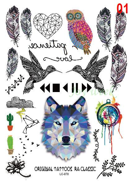 Wholesale- Waterproof Temporary Tattoo Sticker wolf owl bird feather dream catcher Water Transfer Flash tattoo Fake Tattoo for men girl kid