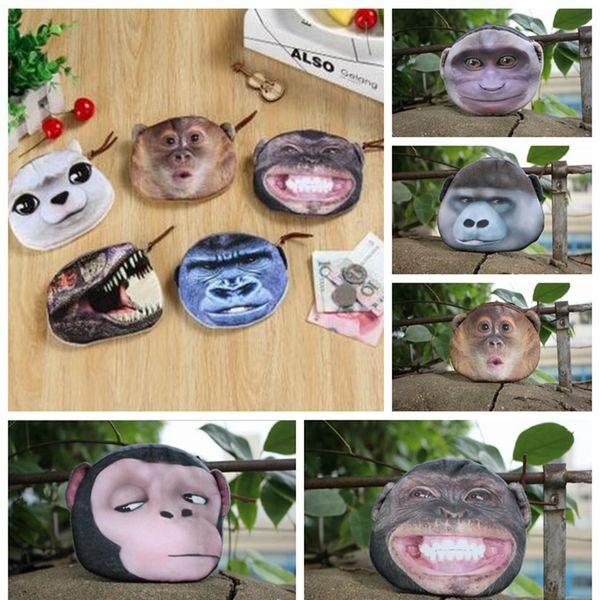 3D Animal Change Purse Monkey Gorilla Printed Coin Purse Kawaii Wallet Zipper Mini Handbag 5 Styles 300pcs LJJO3324