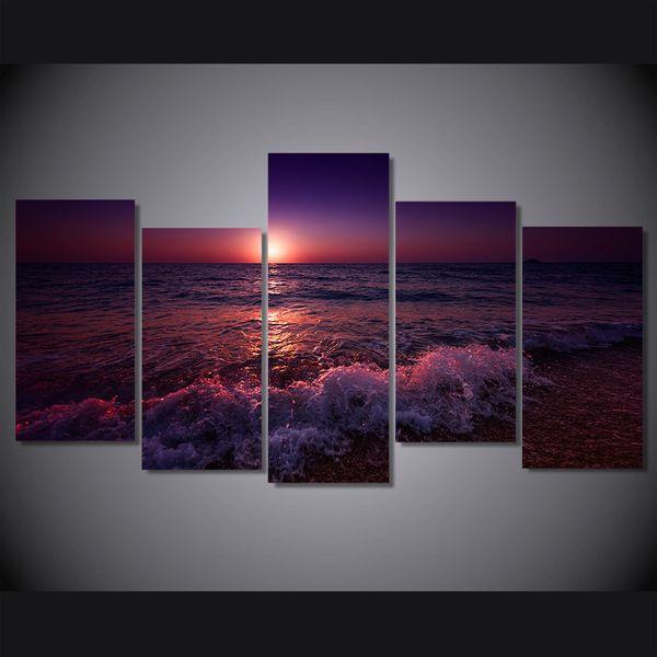 5 Pcs / Set Encadré HD Imprimé Grèce Ionienne Mer Soir Ciel Ciel Mur Art Toile Impression Room Decor Affiche Toile Peinture Mur