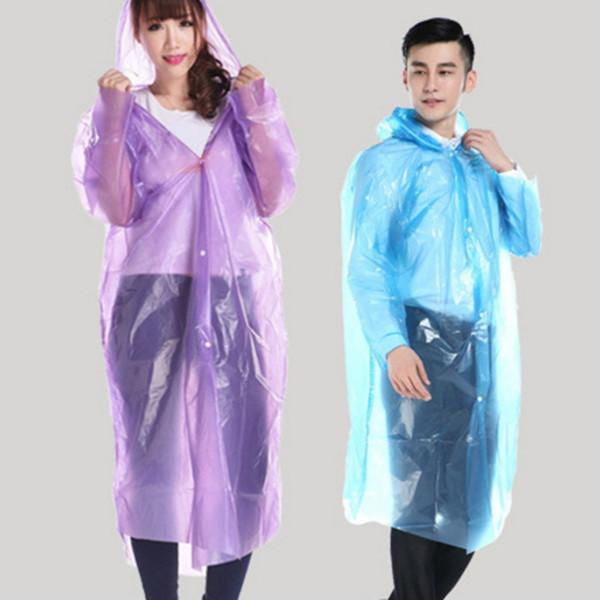 Impermeabile monouso impermeabile PE Unisex Impermeabili Unico Poncho Rainwear Strumento domestico Cappotto antipioggia Indossare la pioggia Cappotto antipioggia Cappuccio Adulto