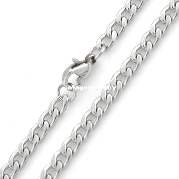"""Width 3mm/4mm/5mm/6mm/7mm/8mm/9mm/10mm/11mm/12mm 316L Stainless Steel Mens NK Cool Curb Link Chain Necklace(18""""-22"""" inches)"""