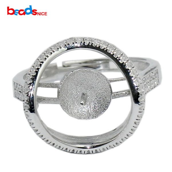 Beadsnice 925 Sterling Silver Ring Setting Removable Stone Adjustable fit 7mm Round Bead Handmade Accessories ID 31048
