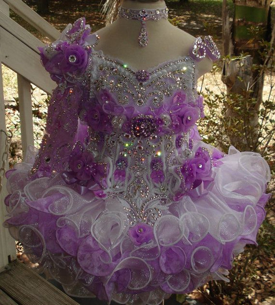 One shoulder beaded purple white necklace hand made flower cupcake toddler little girls pageant dresses flower girls for weddings glitz