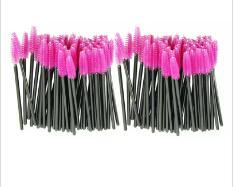 Sıcak Cazip 100 adet / grup makyaj fırça Pembe sentetik elyaf One-Off Tek Kullanımlık Kirpik Fırçası Maskara Aplikatör Değnek Fırça JE24 ücretsiz shippi