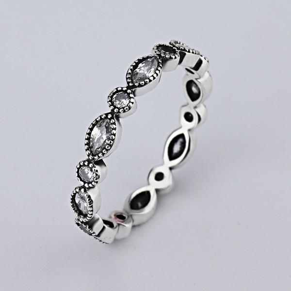 all'ingrosso nuovo diamante europeo retrò 925 argento firma pavimenta anello tondo misura Pandora cubic zirconia anniversario gioielli per donne sciacqui