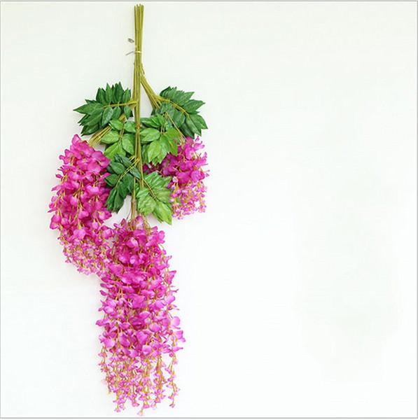 Clearbridal 72CM fiore artificiale di plastica di seta glicine ghirlanda piante vite rattan per la decorazione di nozze hotel casa giardino giallo-12pcs-wg