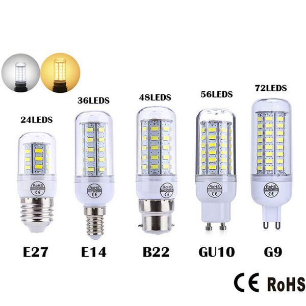 Ultra brillante SMD5730 E27 E14 LED lámpara 7W 9W 12W 15W 18W 220V 360 ángulo 5730 SMD LED Maíz lámpara de bulbo 24LED 36LED 48LED 56LED Araña
