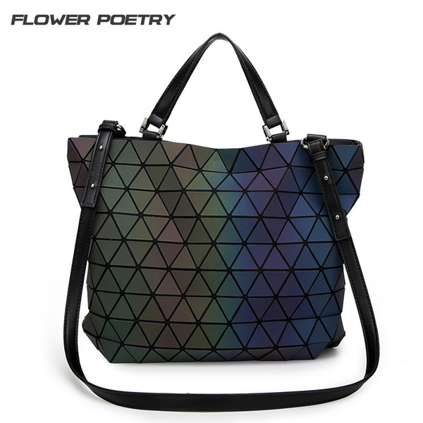 Wholesale- Women Handbag Geometric Laser BaoBao Handbag Women Bag Luminous Lingge Bao Bao Tote Fashion Briefcase Shoulder Bag Bucket bag