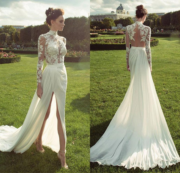 best selling 2019 Fabulous Chiffon High Collar See-through High Slits Sheath Wedding Dresses With Lace Appliques Long Sleeves Backless Beach Bridal Gowns