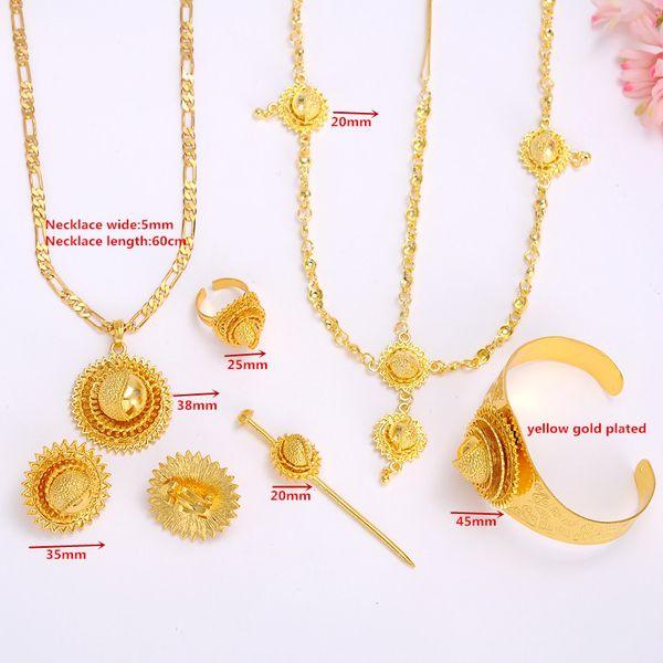 Big ethiopian Bridal Wedding gold Jewelry set Necklace/Hair Piece/Bangle/Hair Pin/Earrings/Ring Eritrea Habesha African