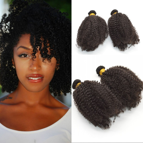 Brazilian Afro Kinky Curly Remy Hair Weft 8-24 inch Natural Color Human Hair Weave Bundles FDSHINE
