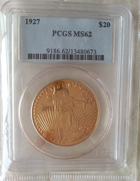 HOT SELLING PCGS Real 24K gold plating $20 1927 MS62 Saint Gaudens Twenty Dollars Or Double Eagle Coin/FREE SHIPPING