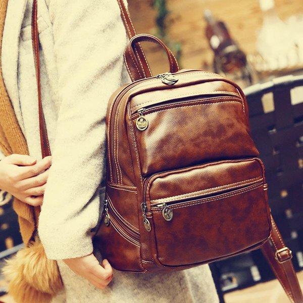 ced3633d440 Hot Women Girl Fashion Designer Brand Backpacks Vintage Leather Shoulder Bag  Retro Small Lady Schoolbag Mochila