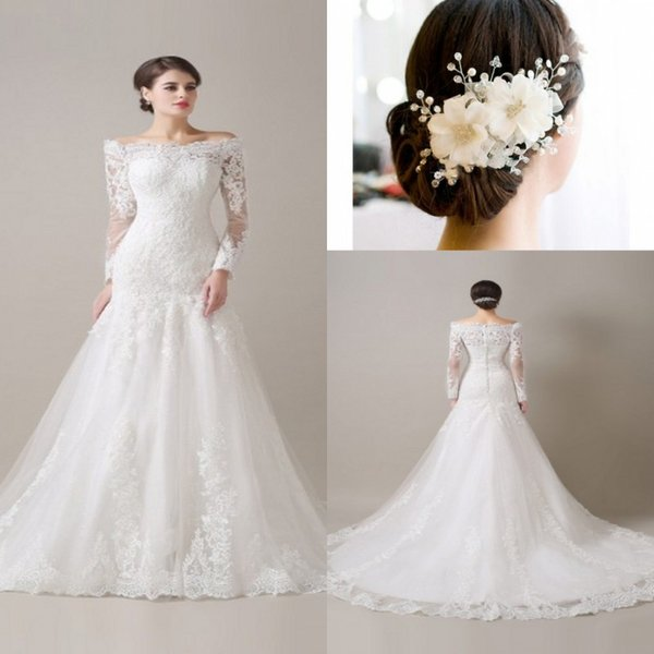 2017Romantic Lace Long Sleeves Meamaid Wedding Dresses Off-the-shoulder Zipper Back Bridal Gowns Buttom Wedding Dress Free Hair Accessories