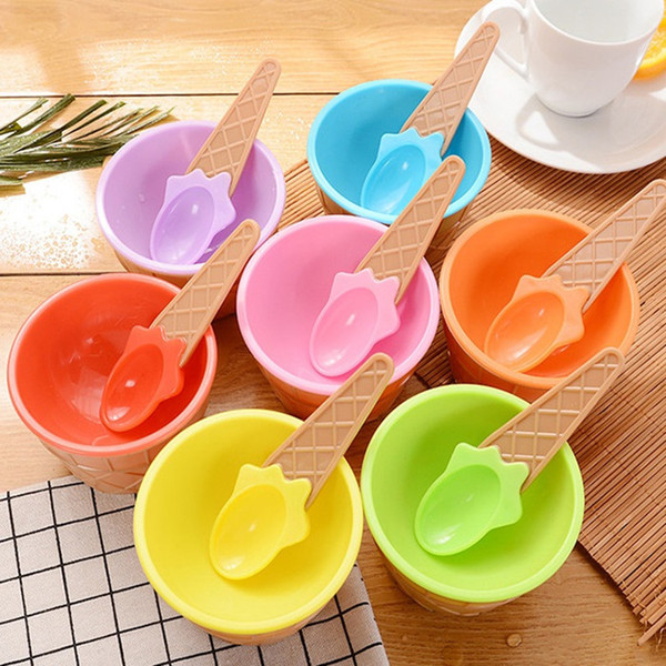 best selling Cute Plastic Ice Cream Bowl With Spoon Eco-Friendly Dessert Colorful tart Bowls Container Set Ice Cream Cup Children Tableware IC552