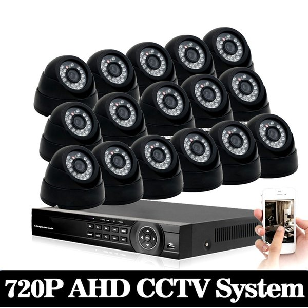 720P AHD Camera Kit 1080p CCTV System 16CH AHD DVR Recorder + 1.0MP IR 30M indoor Security AHD Bullet Camera System Support P2P