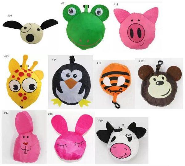 best selling 2017 MIC 12styles New Cute Useful Cartoon Animal Bee Panda Pig Dog Rabbit Foldable Eco Reusable Shopping Bags DHL