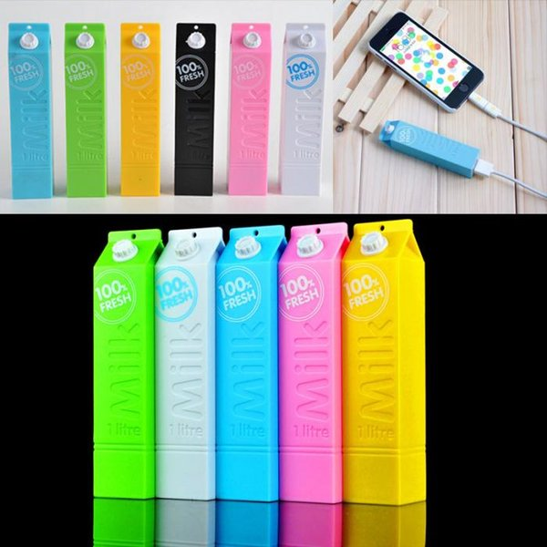 Milk PowerBank Portable Real 1200Mah Colorful Cuboid Power Bank External Backup Battery Charger with Retail Package for Samsung android