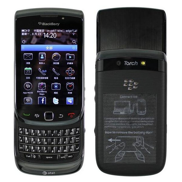 Refurbished Original Blackberry Torch 9800 3G Slide Phone 3.2 inch Touch Screen + QWERTY Keyboard 5MP Camera Unlocked Mobile Phone DHL 5pcs