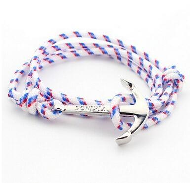 Wholesale-30pcs/lot 2018 New Unique 3 Wrap Silver Nautical Anchor Adjustable Handmade Rope Bracelets & Bangles Jewelry