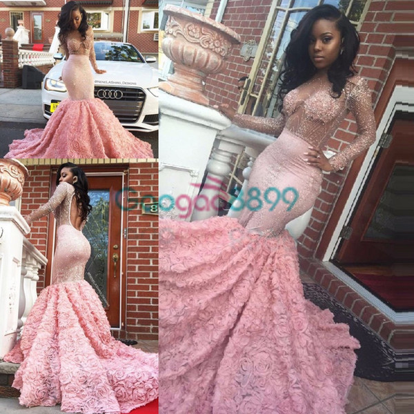 Luxury African Prom Dresses for Black Girl Pink Lace Crystal Engagement Evening Dress Long sleeve Sexy Sheer Custom Made robe de Soiree