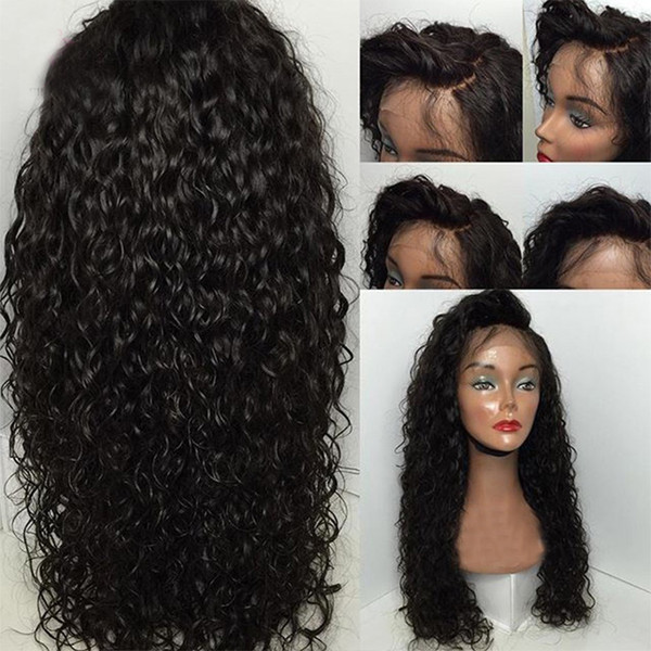 Water Wave 360 Lace Frontal Wigs For Black Women Pre Plucked Honey Queen Brazilian Human Remy Hair Bleached Knots 10-24 Inch