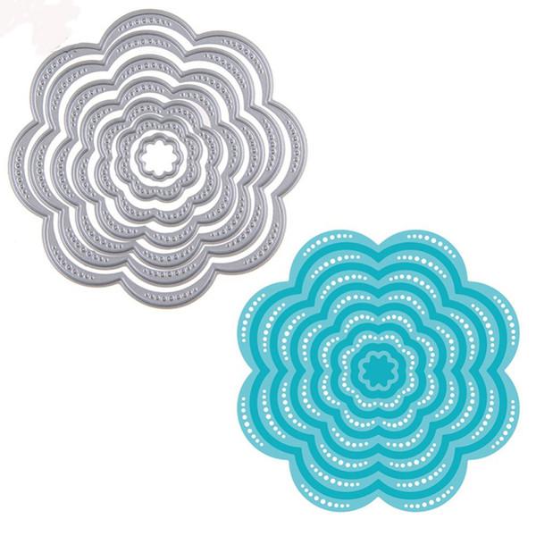 7Pcs//Set Flower Circles Metal Cutting Dies Stencils DIY Scrapbook Embossing