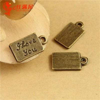 16*9MM Antique Bronze I love you charms tag for bracelet, vintage metal dangle word message pendants for necklace, diy alloy jewelry making