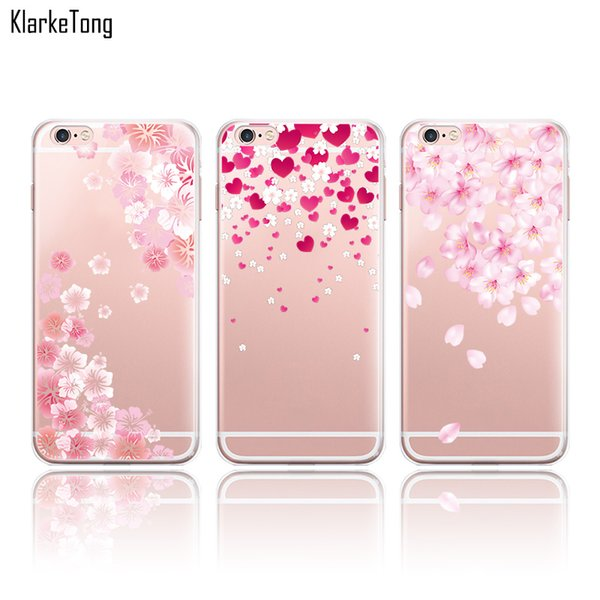 Beautiful Floral Cherry Blossom Case Cover For iphone 7 6 6S 6PlusTransparent Silicone Cell Phone Cases
