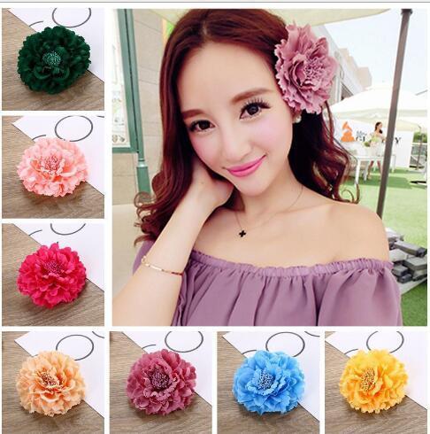 Yüksek Sınıf Kumaş Çiçek Firkete Saç Klip Şakayık Büyük Çiçek Broş Renkli Şapkalar Kadın Saç Aksesuarları TO153