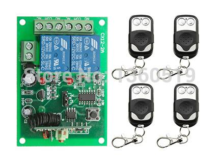 Wholesale-NEW DC12V 2CH 10A Radio Controller RF Wireless Push Remote Control Switch 315 MHZ 433 MHZ teleswitch 4 Transmitter +1 Receiver