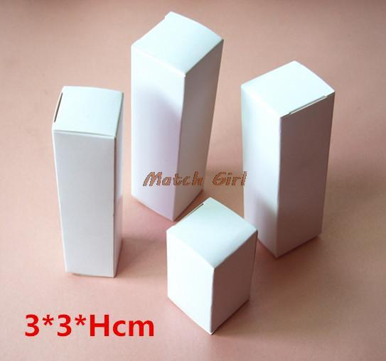 100pcs/lot-3*3*(5-11)H Blank White Paper Packaging Box for facial cream cosmetics handmade soap gift storage boxes valve tubes