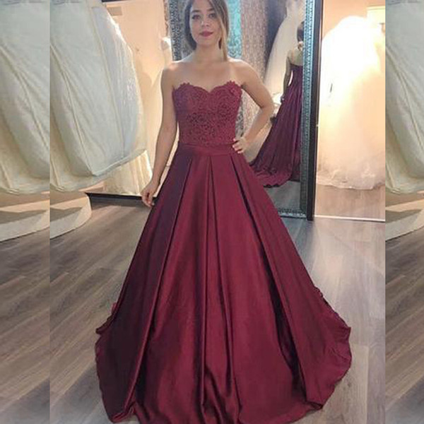 A-line Burgundy Prom Dress Arabic Lace Appliques Top Sweetheart Sleeveless Prom Dresses Long Formal Evening Party Gowns with Sash Train