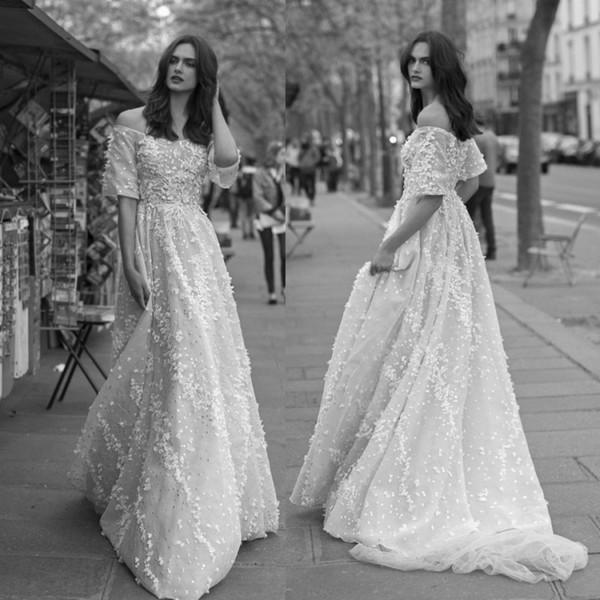 Liz Martinez 2018 Lace Wedding Dresses Off The Shoulder 3D Floral Appliqued Plus Size Garden Country Toddler Bridal Gowns