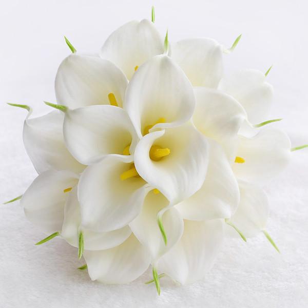 Bouquet De Mariée Pour Mariage Avec Des Perles Calla Blanches / Jaunes Strass Rubans À La Main Bouquets De Mariage Artificiels # BW-B017