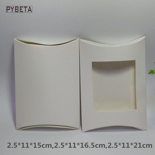 50 шт. / лот-белая бумага подушка коробка с ясно ПВХ окно дисплей коробка для свечи игрушки образец конфеты партии подарочная упаковка