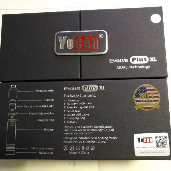 Kits de démarrage originaux Yocan Evolve Plus XL Kit de vaporisateurs Wax 1400mah Dabber Pen avec enroulements de bobines de quartz