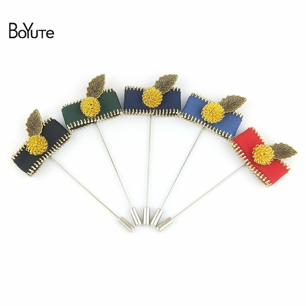 BoYuTe 10Pcs Handmade Zipper Leaf Fabric Brooch Pins 10 Colors Fashion Lapel Pin for Men Wedding Jewelry Christmas Ornament