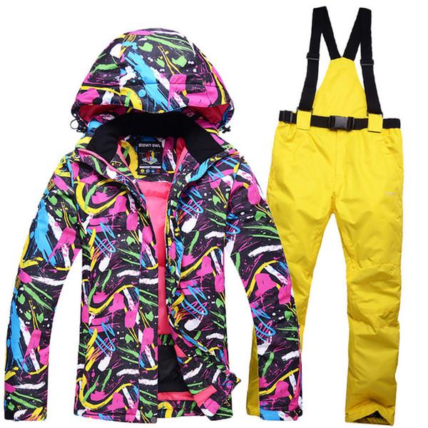 New Ski Team Women's waterproof winter jacket + pants suits thicken women for women's skis snow snowboard sets of breathing