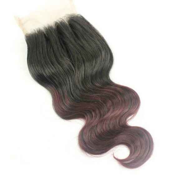 #1T99J Ombre Two Tone Color Top closure 100% Malaysian Human Hair 4*4 Free Middle 3 part Ombre Lace Closure