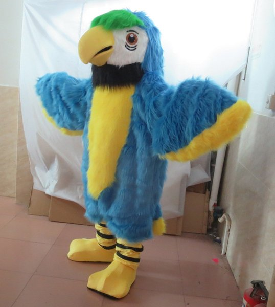 free shipping 100% real photo adult parrot bird mascot costume with one mini fan inside the head