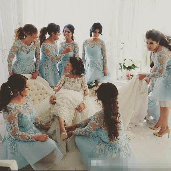Lace Light Blue Bridesmaid Dresses With Long Sleeves Junior Sheer Maid of Honor Dress Short Beach Formal Prom Party Gowns 2017 Knee Length