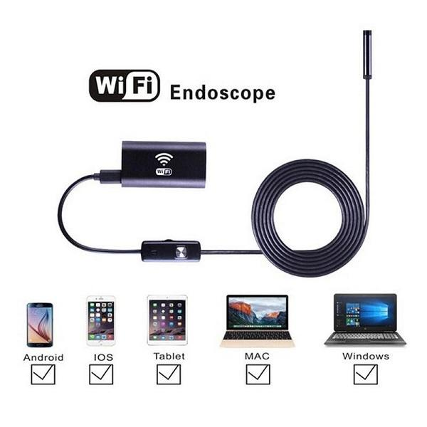best selling Wifi Endoscope 8mm lens 1M 3M 5M 7M 10M 8 adjustable LED Waterproof HD 720P USB Borescopes WIFI Inspection Camera Snake Tube Cable